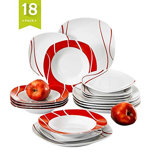 (Malacasa 18-Piece Porcelain Dinnerware Set for 6 Person, Ceramic Dinner Set with Dinner Plates Soup Plates Dessert Plates Cups Saucers Service for 6, Ivory White, Series Felisa)