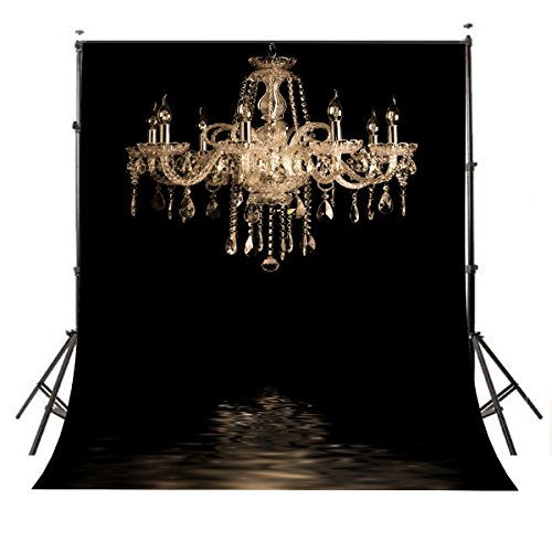 (Lyly County Photography Background 5x7ft European Gorgeous Crystal Chandelier Black Backdrop Studio Props Indoor Decorations(Upgrade Material))
