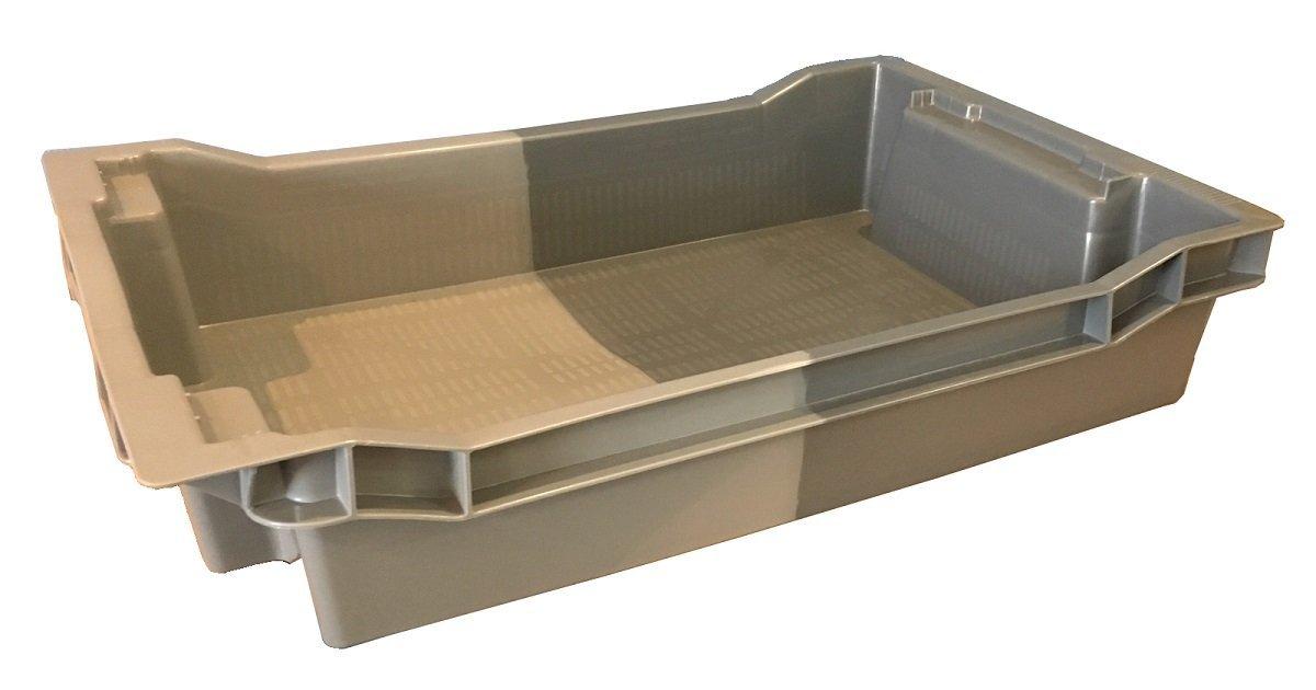 Pack de 5 x 18 litros gris/nido poco profundo, caja de almacenamiento de plástico de 180º contenedor bandeja de almacenamiento - 600 x 400 mm ...
