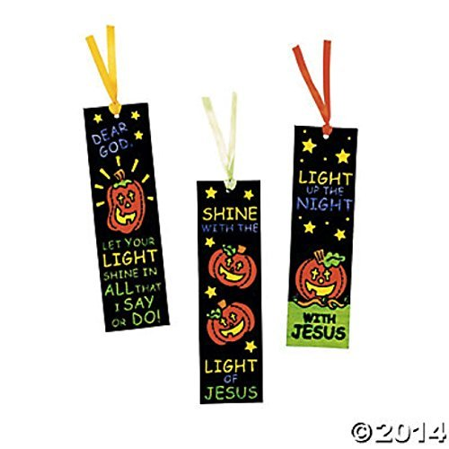 Color Your Own Fuzzy Halloween Christian Pumpkin Bookmarks -