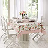 AdonisUSA Rose Decorative Printed Polyester Round or Rectangle Tablecloth Water Resistant Fabric Table Cover for Dining Room and Party (140x220 cm ≅ 55x86 inch Rectangle)