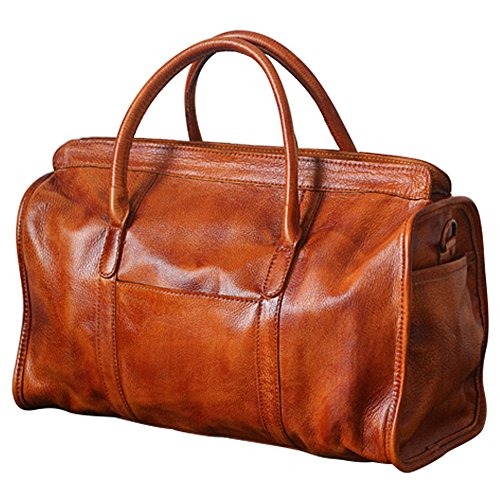 Berchirly Mens Genuine Leather Overnight Travel Duffle Luggage Carry On Red Brown by Berchirly