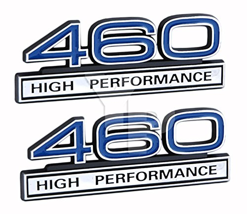 Ford Truck Crate Engines - 460 7.5 Liter High Performance Engine Emblems in Chrome & Blue Trim - 4