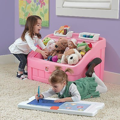 Step2 Lift & Roll Toy Box Kids Storage Chest Bins Organizer