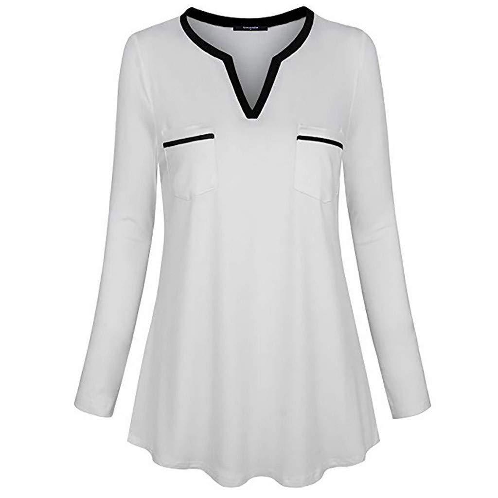 CUTUDE Chemisier Femme Manches Longues T-Shirt Col Roul/é Lacer Encapuchonn/é Chandail Chemise Tunique