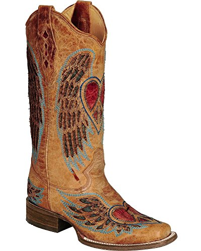 - CORRAL Women's Distressed Heart and Wing Inlay Cowgirl Boot Square Toe Saddle Tan 9 M US