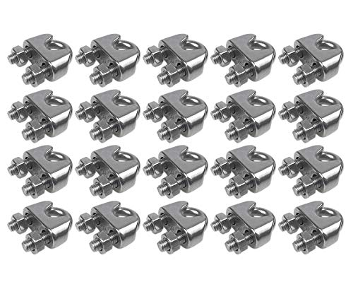 Muzata Wire Rope Clip,M3 Wire Rope Clamp,T316 Marine Grade Stainless Steel Cable Clamps 1/8