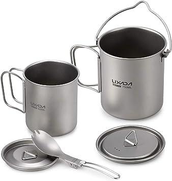 Lixada Taza para Camping Titanio Portable Taza de Agua con Asa Plegable Untensilos de Cocina para Picnic Camping Senderismo BBQ