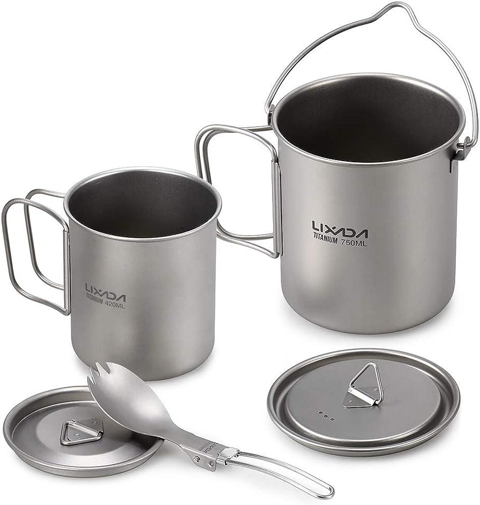 Lixada Titanium Bowl Cookware w//Folding Handle for Outdoor Camping Hiking Picnic