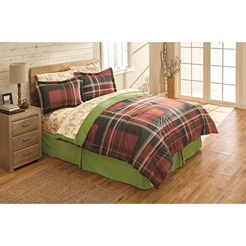 N2 6 Piece Black Red Plaid Comforter Twin Set, Cabin Themed Bedding Checkered Ivory Lines Checked Lodge Pattern Montana Brown Bear Deer Pine Trees Sheets Madras Buffalo Classic, Polyester (Comforter Plaid Bear Set Twin)