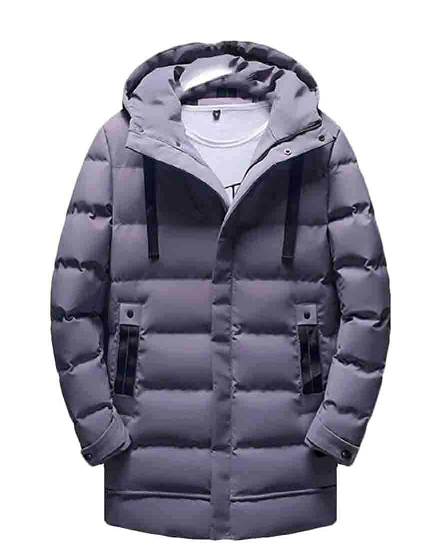 Frieed Mens Warm Quilted Hooded Stand Collar Outdoor Long Down Jacket