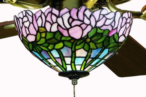 Cabbage Rose Tiffany Stained Glass Ceiling Fan 52 Inches Width (Tiffany Style Ceiling Fans compare prices)