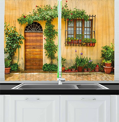 Ambesonne Italy Kitchen Curtains, Porch with Different Flowers Pots Fresh Green Plants City Life in Tuscany, Window Drapes 2 Panel Set for Kitchen Cafe, 55 W X 39 L inches, (Tuscany Window)