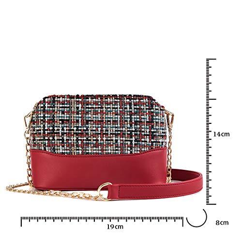 Femme Sac Chaîne Tweed Rouge Tisdaini Mini Bandoulière pwBT7Xq