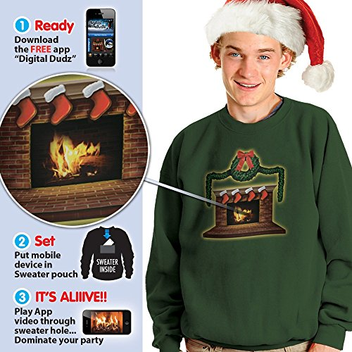 Crackling Fireplace Ugly Adult Christmas Sweater (S, Green)