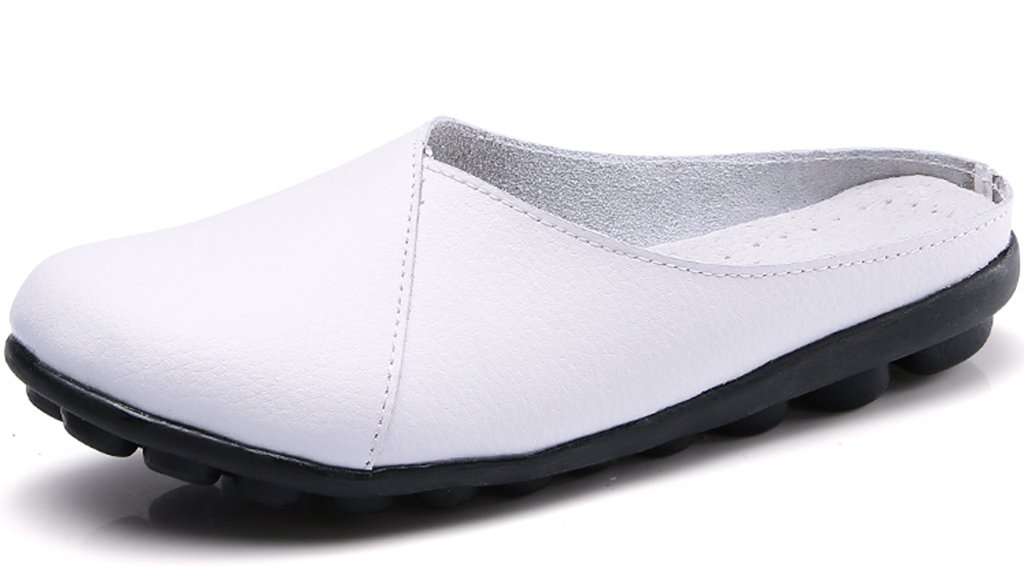 Clarsunny Women's Leather Casual Flat Slipper Soft Closed Toe Slip-on Loafer (10 B(M) US, White)