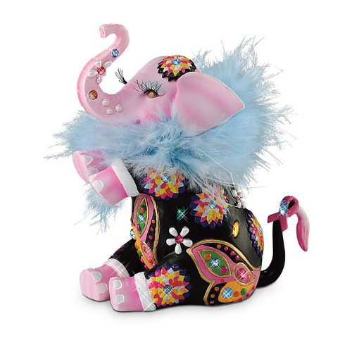 Trumpeting Joy Breast Cancer Awareness Support Elephant Figurine by The Hamilton Collection