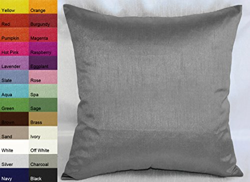 creative-faux-silk-solid-euro-sham-pillow-cover-26-by-26-charcoal