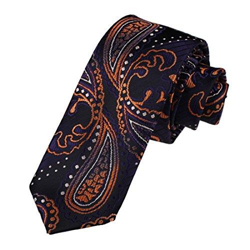 Dan Smith DAE7B09A Black Orange Skinny Tie Microfiber Classic Formal Wear Patterned Thanksgiving Day Skinny Neckties
