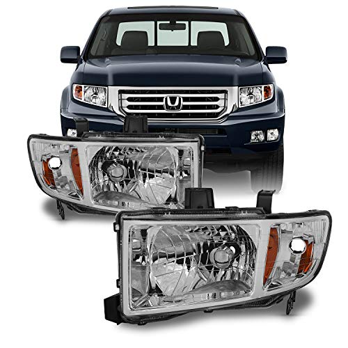 For Honda Ridgeline OE Replacement Chrome Bezel Headlights Driver/Passenger Head Lamps Pair New
