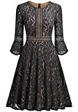 Best Luouse Gowns - Ankosen Women's Full Lace Contrast Flare Sleeve Big Review