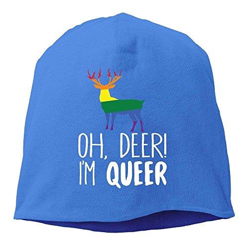 Oh Deer I'm Queer Funny Gay Pride Beanies Cap For Men Women Royalblue
