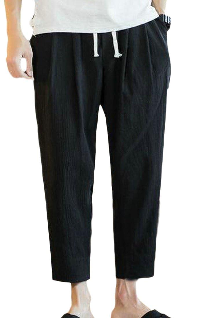 BLTR-Men Elastic Waist Loose Plus Size Wide Leg Linen Harem Pants