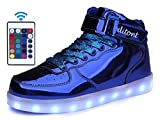 ditont LED Light Up Shoes Flashing Sneakers With Remote for Kids Boys Girls (DT98Bright-Blue39)