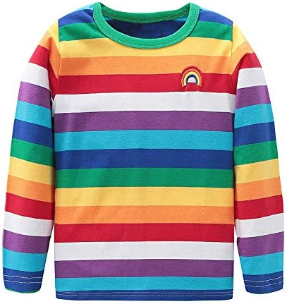 HowJoJo Boys Cotton Long Sleeve T-Shirts Striped Polo Shirts
