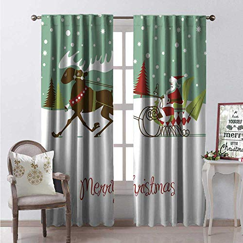 Hengshu Texas Room Darkening Wide Curtains Merry Christmas Lettering Santas Sleigh Reindeer Snowy Woods Retro Style Waterproof Window Curtain W72 x L108 Multicolor