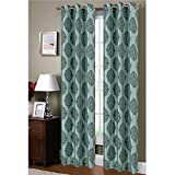 Window Elements Suzani Flocked Faux Silk 76 x 84 in. Grommet Curtain Panel Pair, Aqua/Grey
