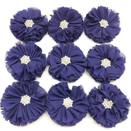 (PEPPERLONELY 10PC Set Purple Rhinestone Button Center Chiffon Fabric Flowers, 6.5cm(2-9/16 Inch))