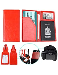 Passport Holder Cover with 2 Matching Luggage Tags and Strap Red