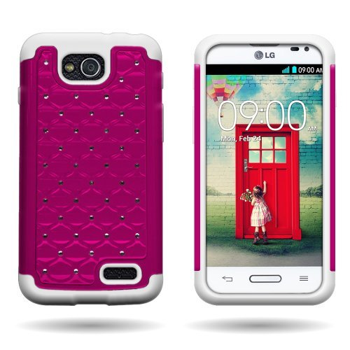 Wireless Central Hybrid Dual Layer Diamond Case for LG Optimus L90 D415 - Hard Light Pink Plastic + Soft White - For A Case L90 Lg