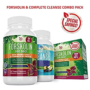 Pure Forskolin Extract + Cleanse Combo for Rapid Fast Acting Weight Loss | Powerful Diet Pill, Appetite Suppressant, & Fat Burner | Safe Natural Herbal Formula| NutriGood Labs 100% Refund Guarantee