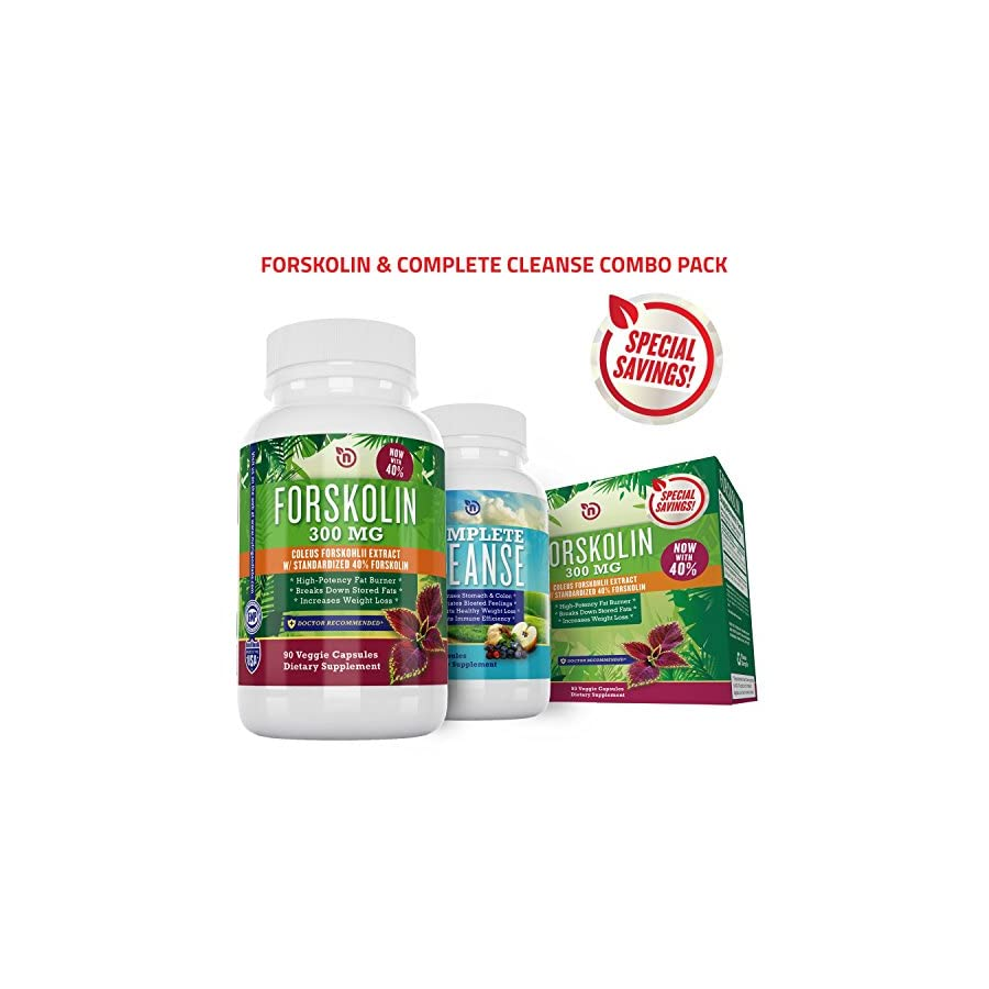 Pure Forskolin Extract + Cleanse Combo for Rapid Fast Acting Weight Loss | Powerful Diet Pill, Appetite Suppressant, Fat Burner | Safe Natural Herbal Formula| NutriGood Labs 100% Refund Guarantee