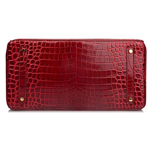 Ainifeel 40cm Oversized Patent Leather Padlock Handbag Business Purse (40cm OVERSIZE, Claret red) by Ainifeel (Image #7)