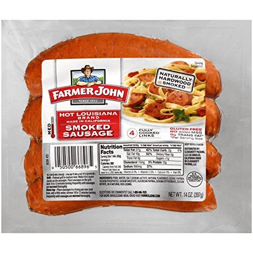 Farmer John Hot Louisiana Smoked Sausage 14oz Packages