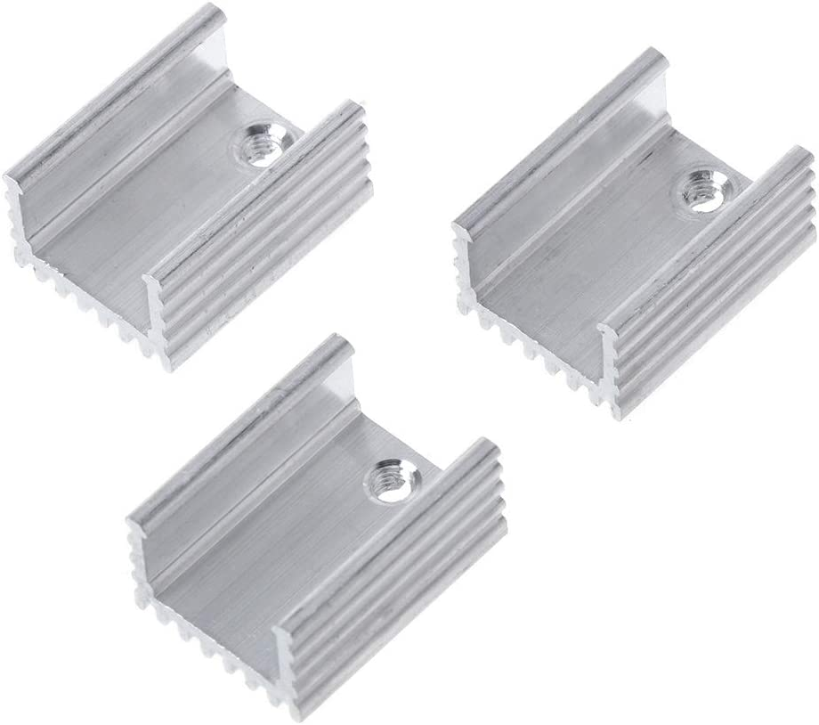 Silver+White JOYKK 10Set TO-220 Cooling Radiator Aluminum Sheet Heatsink Transistor Heat Sink Cooler Radiator Cooling Silicone Pads for Piece Computer Components