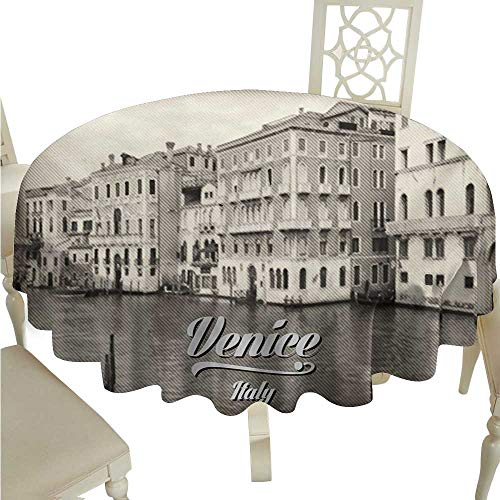 (Zodel Restaurant Tablecloth Venice Old Photo of Venice Italian City Vintage Filter Effect and Lettering History Memory Picnic D60 Suitable for picnics,queuing,Family)
