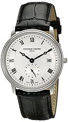 Frederique Constant Men's FC245M4S6 Slim Line Analog Display Swiss Quartz Black Watch