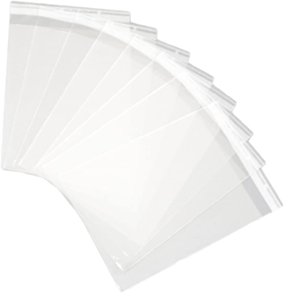 Hustar 100 Pi/èces Sachets Pochettes Sac demballage Transparent Sac Auto-Adh/ésive pour Bonbons Biscuit en Plastique 4x6 Pouces