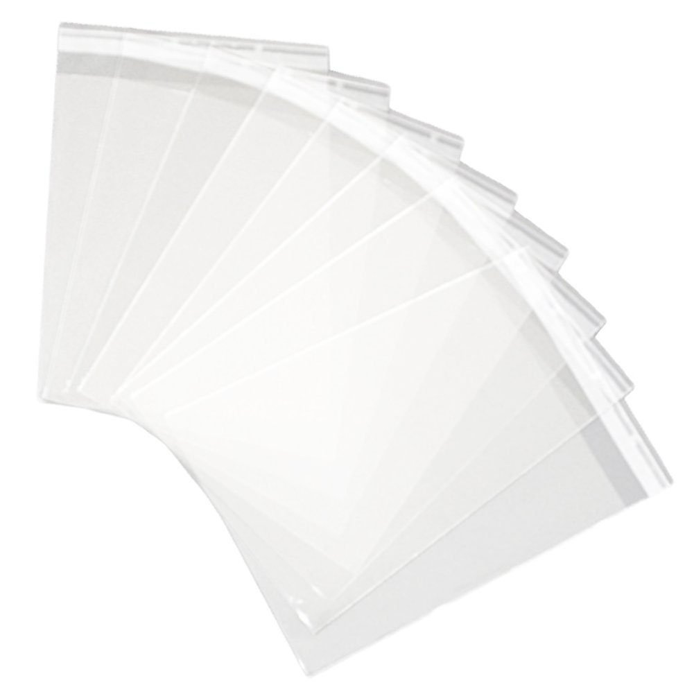 HugeDE 100 Pcs 12x16 inch Clear Cello Cellophane Bags OPP Plastic Bags Self Sealing Flat Treat Bags for Bakery Cookies