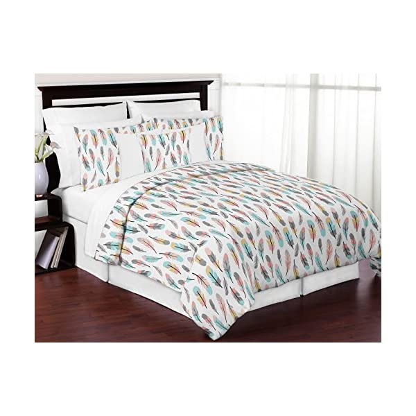 Sweet Jojo Designs Accent Floor Rug Bedroom Decor for Turquoise and Coral Feather Collection Kids Girls Bedding Set