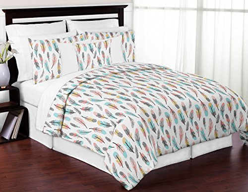 Sweet Jojo Designs 3-Piece Feather Girls Full / Queen Bedding Childrens Teen Bedding Set (Coral Collection)