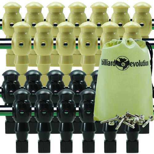 26 Tan and Black Robotic Foosball Men with Free Screws and Nuts and Billiard Evolution Drawstring Bag
