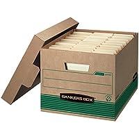 Bankers Box STOR /FILE Cajas de almacenamiento para trabajo mediano, FastFold, Tapa de levantamiento, 100% reciclado, Carta /Legal, Caja de 12 (12770)
