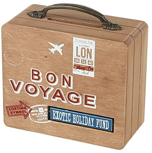 Heaven Sends Bon Voyage en Bois Valise Style Tirelire