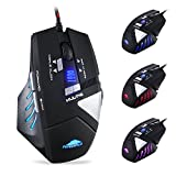Wired USB Computer Gaming Mice with 4000 DPI 1000Hz Optical Laser Computer Gaming Mouse with 8 Programmable Buttons LED Game Mouse