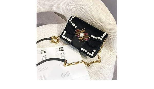 Amazon.com: Famous Bags Women Designer Bee Lock Rivet Diamond Chain Shoulder Bag Handbag Velvet Luxury Totes Brands Crossbody Bags Black Red Color black ...